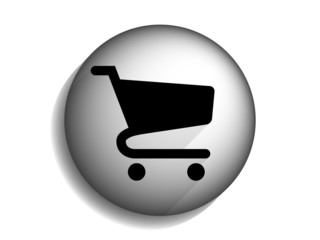 Flat long shadow icon of shopping chart