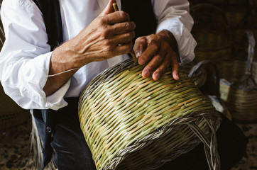 Handmade basket, traditional crafts of Sardinia, Italy