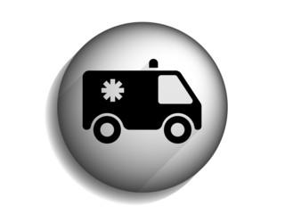 Flat long shadow icon of ambulance