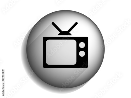 Flat long shadow icon of tv