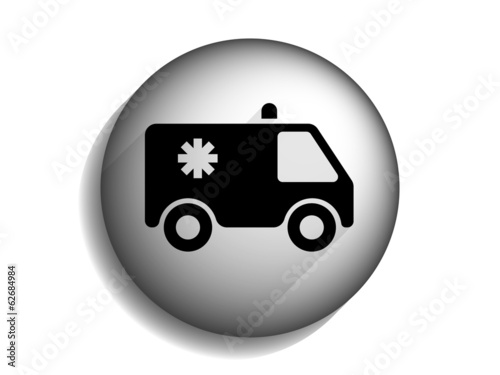 Flat long shadow icon of ambulance