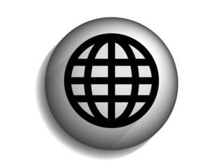 Flat long shadow icon of globe