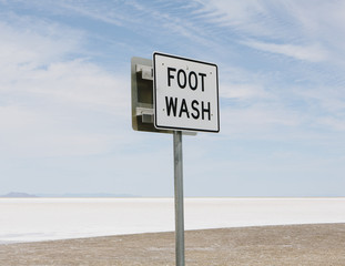 An Information Sign, Foot Wash, At The Edge Of The Bonneville Salt Flats.