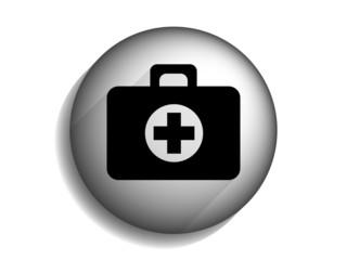 Flat long shadow icon of ambulanse