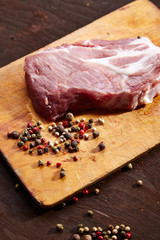 Raw beef steak on a wooden background