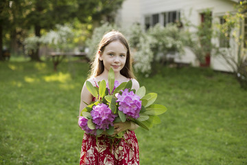 A Young Girl Holding A Bunch Of Purple Hydrangea Flowerheads.