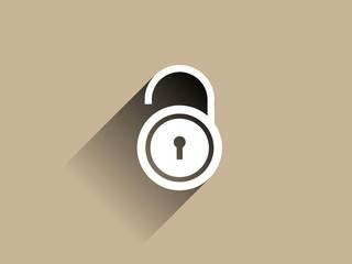 Flat long shadow icon of lock
