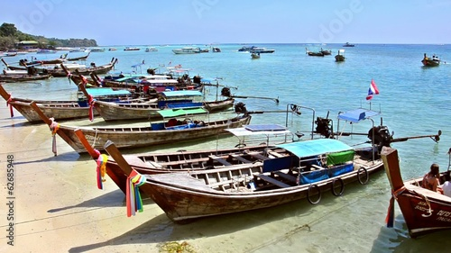 thailand, phi phi islands, traditional fishing boats