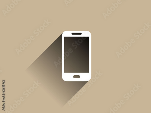 Flat long shadow icon of smartphone