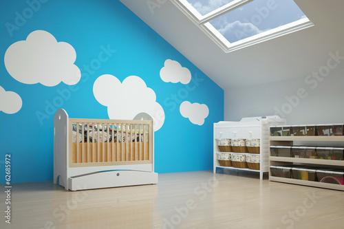Kinderzimmer im Dachgeschoss mit Babybett