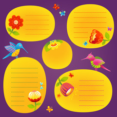 Adorable vector set of text frames and humming birds.