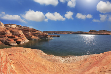 Photo taken fisheye lens. The Lake Powell