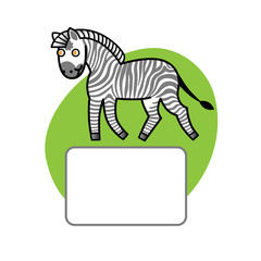 Zebra and place for your text. Elements for design.