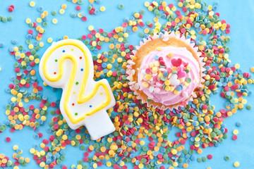 Kleiner bunter Cupcake