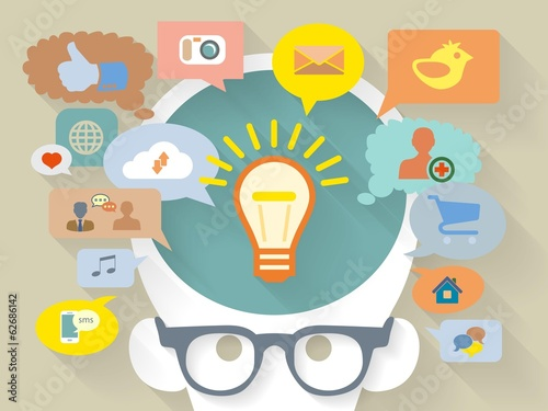 Vector Flat Design style illustration of social media concept