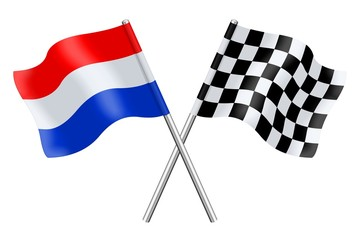 Flag Netherlands and checkerboard