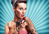 Fototapety Pin-Up girl with tattoos