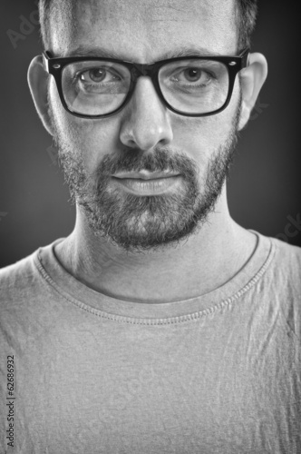 Man with glasses - Black and White