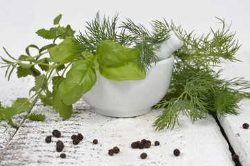 mortar and herbs