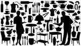 restaurant silhouettes