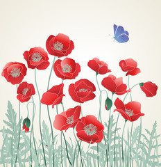 Field of Red Poppies with Blue Butterfly