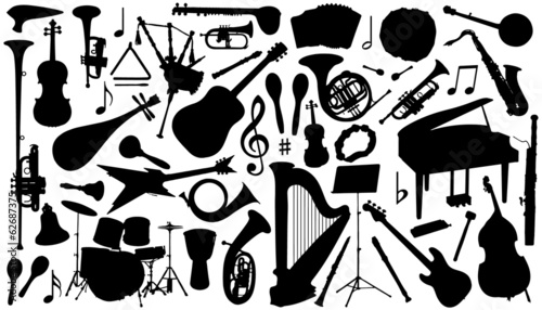 music instrument silhouettes - 62687375
