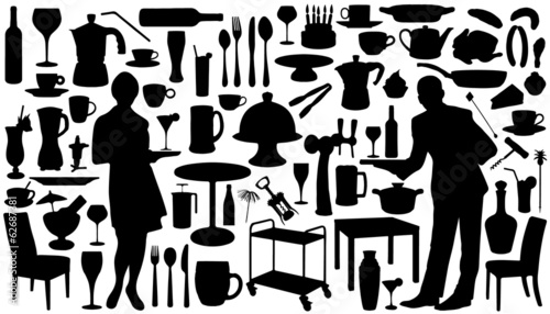 restaurant silhouettes - 62687381