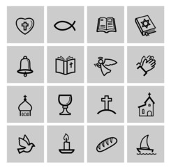 vector black religion icon set