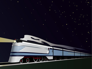 Vintage Streamlined Train Vector Illustration