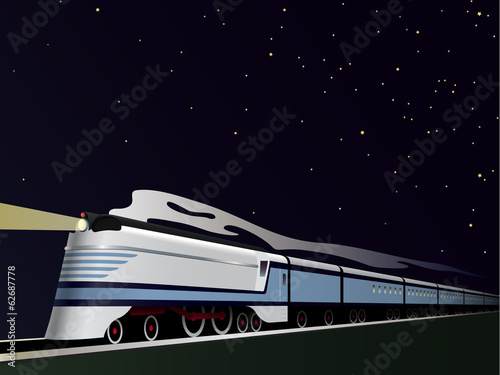Vintage Streamlined Train Vector Illustration