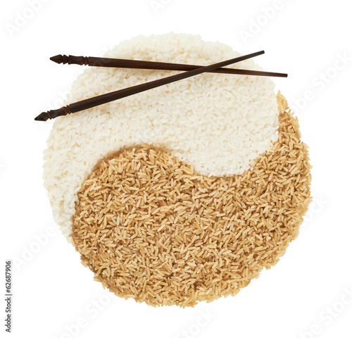 Yin yang sign made of rice