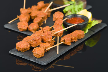Spicy Chicken Satay - Marinated chicken meatball skewers