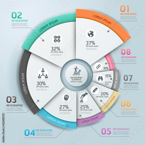 Modern business Infographics circle origami style Vector illustr