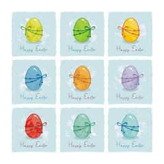 Small cards or labels set with colorful Easter eggs