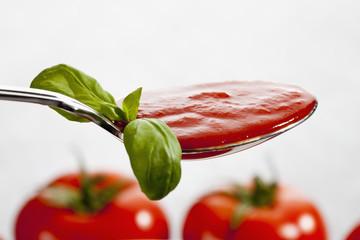 Löffel mit Tomatensauce und Basilikum Blatt