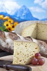 Käse mit Trauben vor Bergen, Composing
