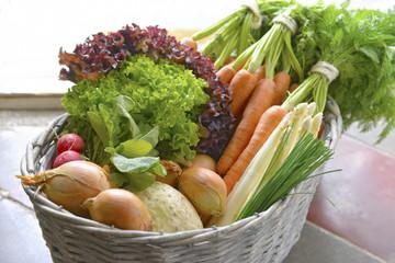 Deutschland, Karotten, Spargel, Sellerie, Zwiebeln, Radieschen, Schnittlauch im Korb