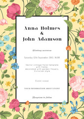 Vector vertical vintage floral wedding invitation card