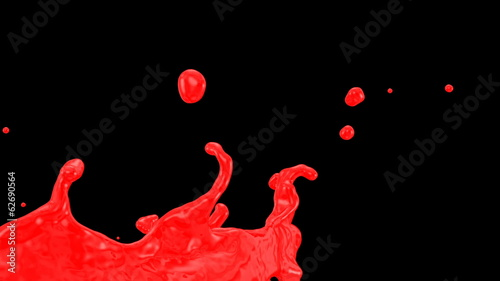 red paint splash in slow motion, alpha included (FULL HD)