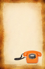 bakelite telephone over stained background