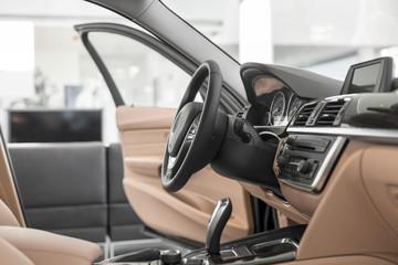 Beim Autohändler, Innenausstattung des neuen Autos