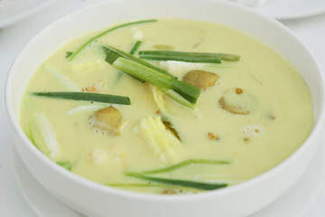 thai seafood soup in coconut milk