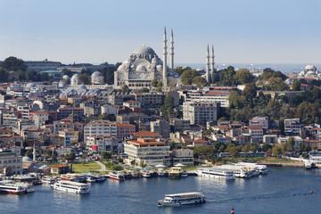 Türkei, Istanbul, Blick vom Galata- Turm und Süleymaniye-Moschee