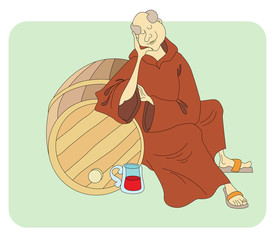 monk sleeps near the barrels of wine