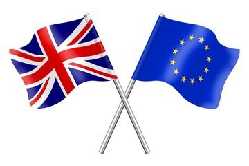 Flags :  United Kingdom and Europe