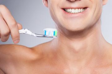Ready for brushing teeth.