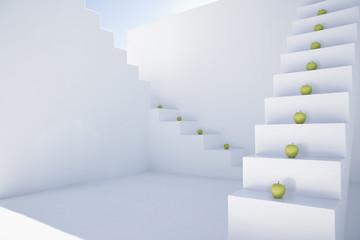 Grüne Äpfel auf weiß modernen Treppen