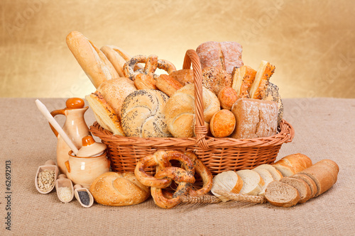 Foto op Canvas Brood Fresh bakery products and ingredients