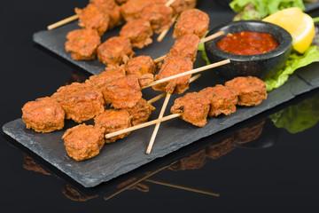 Spicy Chicken Satay - Marinated chicken meatball skewers