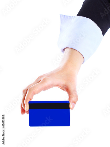 business woman giving blank business card